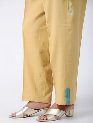 Mustard Khadi Cotton Palazzos with