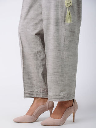 Grey Khadi Cotton Palazzos with Pintucks