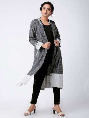 Charcoal Embroidered Khadi Cotton Jacket