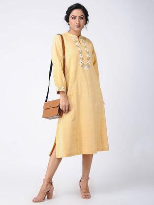 Yellow Embroidered Khadi Cotton Dress