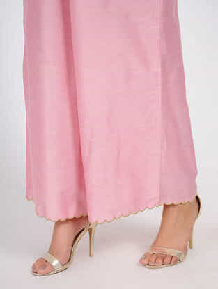 Pink Elasticated waist Cotton-Silk Palazzos