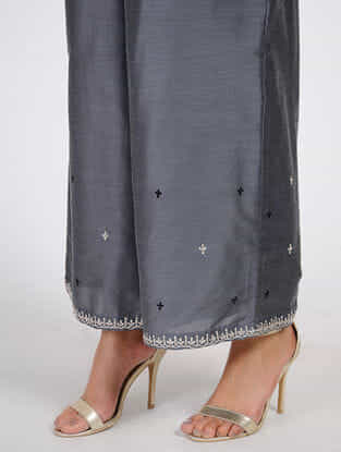 Grey Tilla Embroidered Cotton-Silk Palazzos