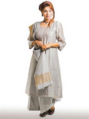Grey Pintuck Chanderi-Cotton Kurta with Embroidery