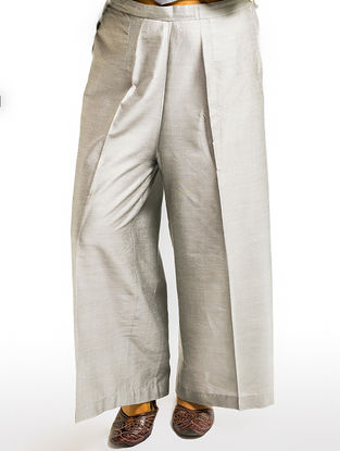 Grey Elasticated Waist Cotton-silk Palazzos