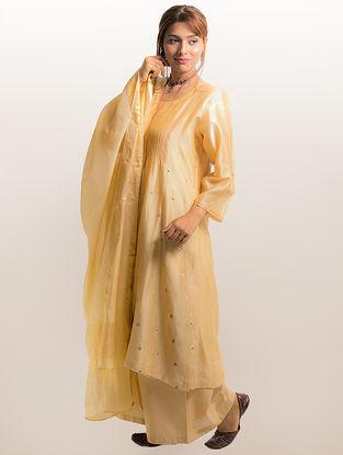Beige Pintuck Chanderi-Cotton Kurta with Embroidery