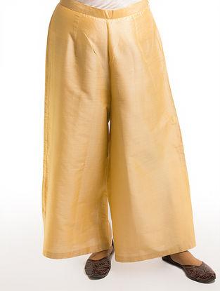Beige Elasticated Waist Cotton-silk Palazzos