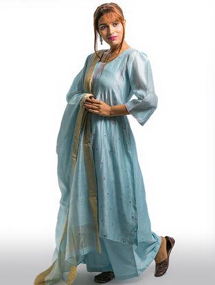 Blue Pintuck Chanderi-Cotton Kurta with Embroidery