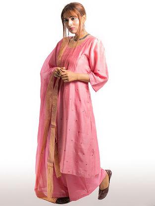 Pink Pintuck Chanderi-Cotton Kurta with Embroidery