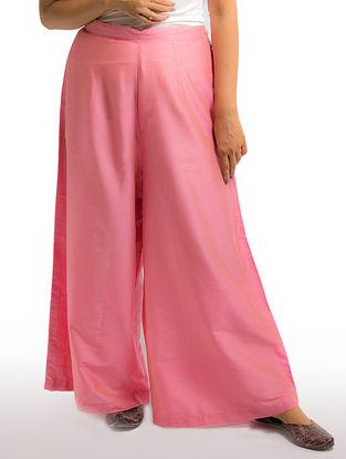 Pink Elasticated Waist Cotton-silk Palazzos