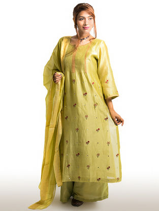 Olive Pintuck Chanderi-Cotton Kurta with Embroidery