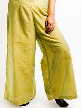 Olive Elasticated Waist Cotton-silk Palazzos