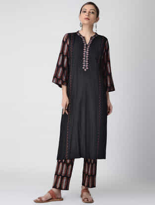 Black Ajrakh-printed Cotton Rayon Kurta with Embroidery