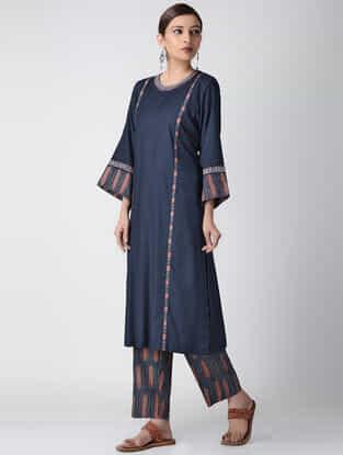 Indigo Ajrakh-printed Cotton Rayon Kurta with Embroidery