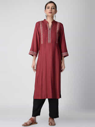 Red Ajrakh-printed Cotton Rayon Kurta with Embroidery