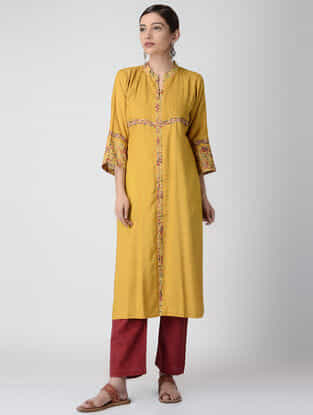 Yellow Ajrakh-printed Cotton Rayon Kurta with Embroidery