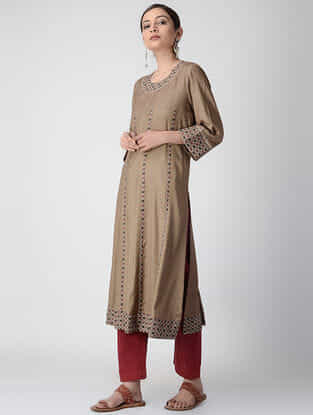 Brown Ajrakh-printed Cotton Rayon Kurta with Embroidery