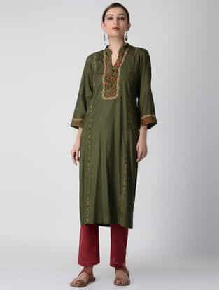 Olive Ajrakh-printed Cotton Rayon Kurta with Embroidery