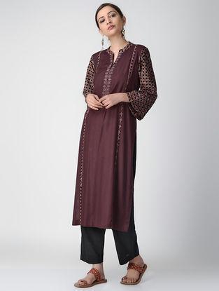 Burgundy Ajrakh-printed Cotton Rayon Kurta with Embroidery