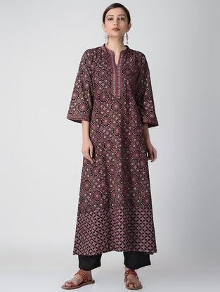 Black Ajrakh-printed Cotton Dress/Kurta