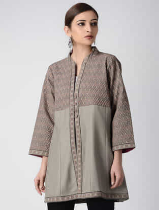 Grey Ajrakh-printed Cotton Pashmina Quilted Jacket