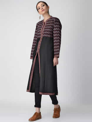 Black Ajrakh-printed Cotton Pashmina Quilted Jacket