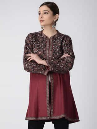 Maroon-Black Ajrakh-printed Cotton Pashmina Quilted Jacket