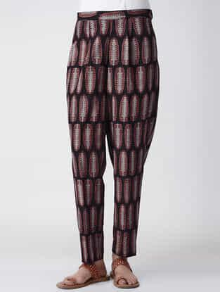 Black Ajrakh-printed Cotton Pants