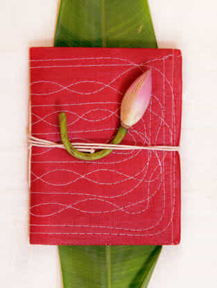 Red Handcrafted Bahi Khata Notebook with Strings