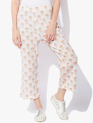 Ivory-Peach Block-printed Elasticated Waist Cotton Cambric Pants