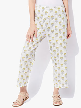 Ivory-Yellow Block-printed Elasticated Waist Cotton Cambric Pants