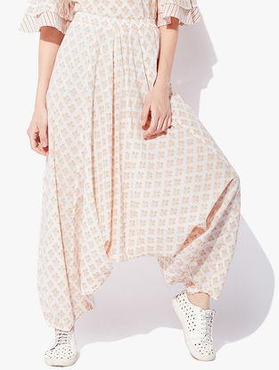 Ivory-Peach Block-printed Cotton Cambric Harem Pants