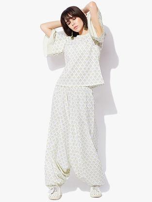 Ivory-Green Block-printed Cotton Cambric Harem Pants