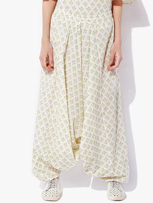 Ivory-Yellow Block-printed Cotton Cambric Harem Pants