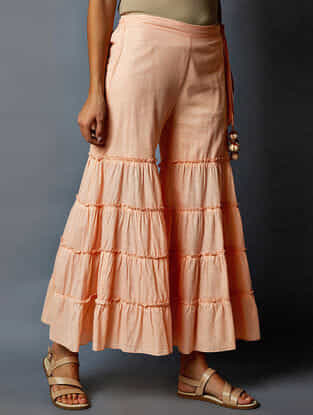 Peach Elasticated Waist Cotton Palazzos