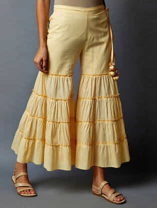 Yellow Elasticated Waist Cotton Palazzos