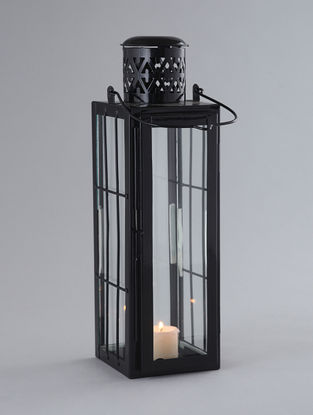 Black Iron and Glass Door Lantern (L:4in, W:5in, H:14in)