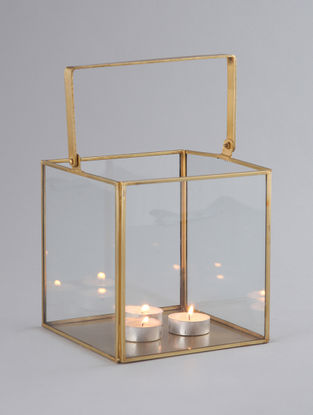 Golden Brass Plated Golden Iron and Glass Donna Lantern (L:6.5in, W:6.5in, H:6.5in)