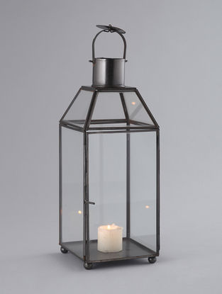 Black Iron and Glass Lantern with Nickel Finish (L:5in, W:5in, H:15in)