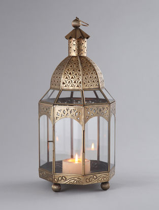 Brass Plated Iron and Glass Shahi Lantern (Dia:8.5in, H:18in)