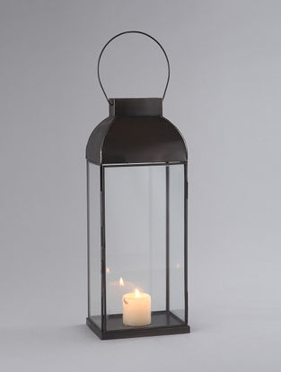 Black Iron and Glass Dome Lantern with Nickel Finish (L:6.5in, W:4.5in, H:16in)