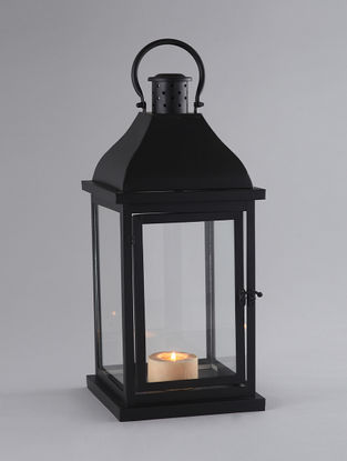 Black Iron and Glass Lantern with Matte Finish (L:8.5in, W:8.5in, H:21.5in)