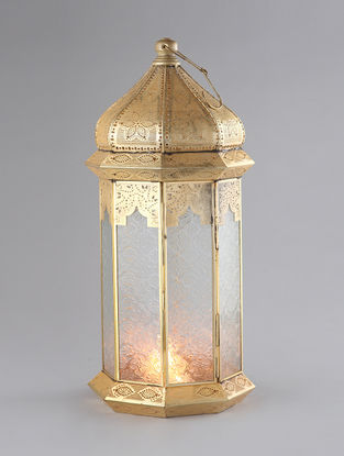 Brass Plated Iron and Glass Moroccan Lantern (Dia:9.5in, H:22in)