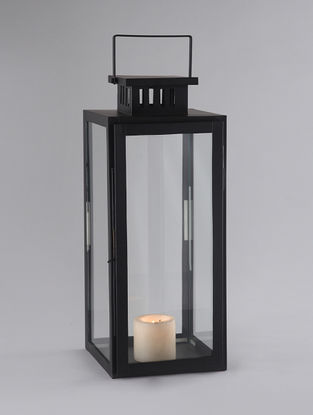 Black Iron and Glass Pillar Lantern with Matte Finish (L:8.5in, W:8.5in, H:22in)