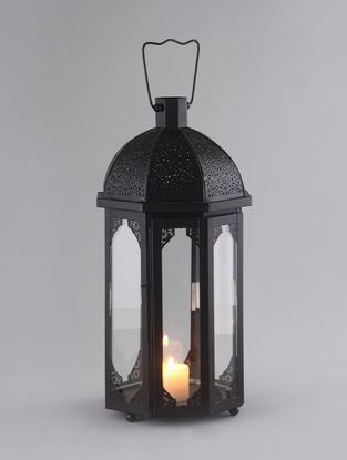 Black Iron and Glass Moroccan Lantern with Matte Finish (Dia:8.75in, H:19in)