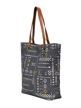 Grey Digital Printed Cotton Canvas Tote