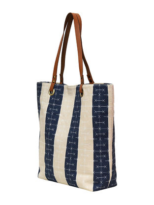 Blue-Cream Digital Printed Cotton Canvas Tote