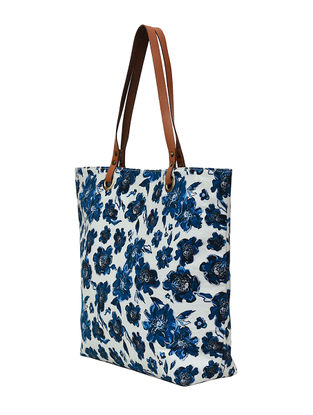 Indigo-White Floral Digital Printed Cotton Canvas Tote