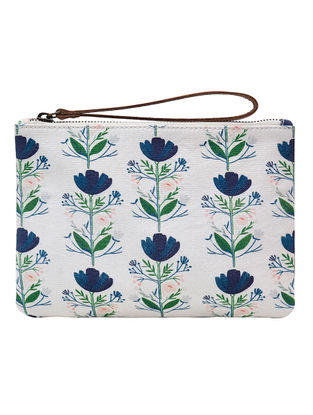 White-Blue Floral Digital Printed Cotton Canvas Wristlet