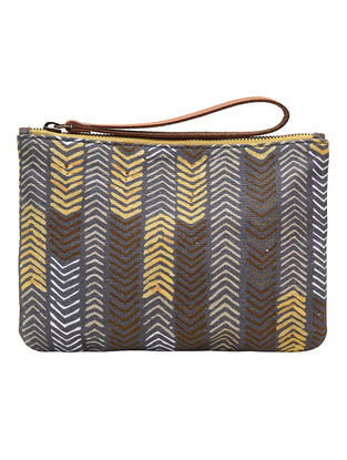 Grey-Yellow Digital Printed Cotton Canvas Wristlet