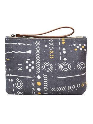 Grey Digital Printed Cotton Canvas Wristlet